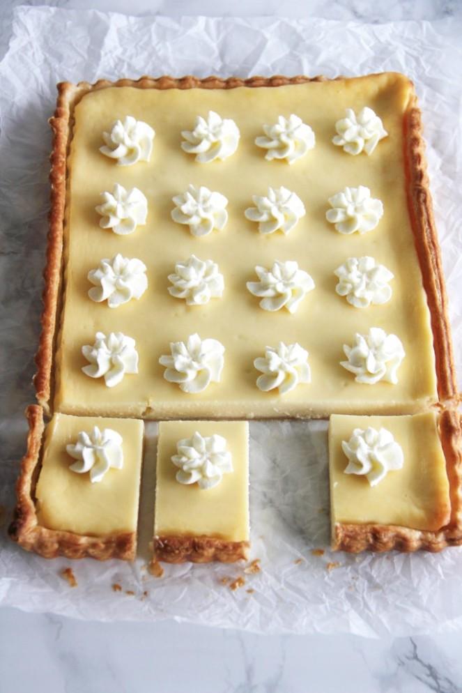 Käsekuchen mit weißer Schokolade